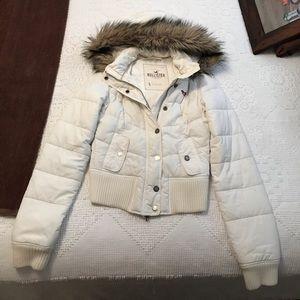 Hollister white jacket sizeS